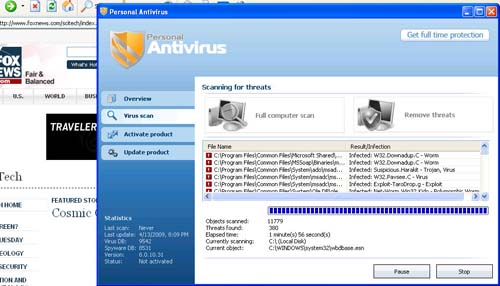 Example of a virus or malware on a web site